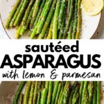 cooked asparagus on a plate and in a skillet