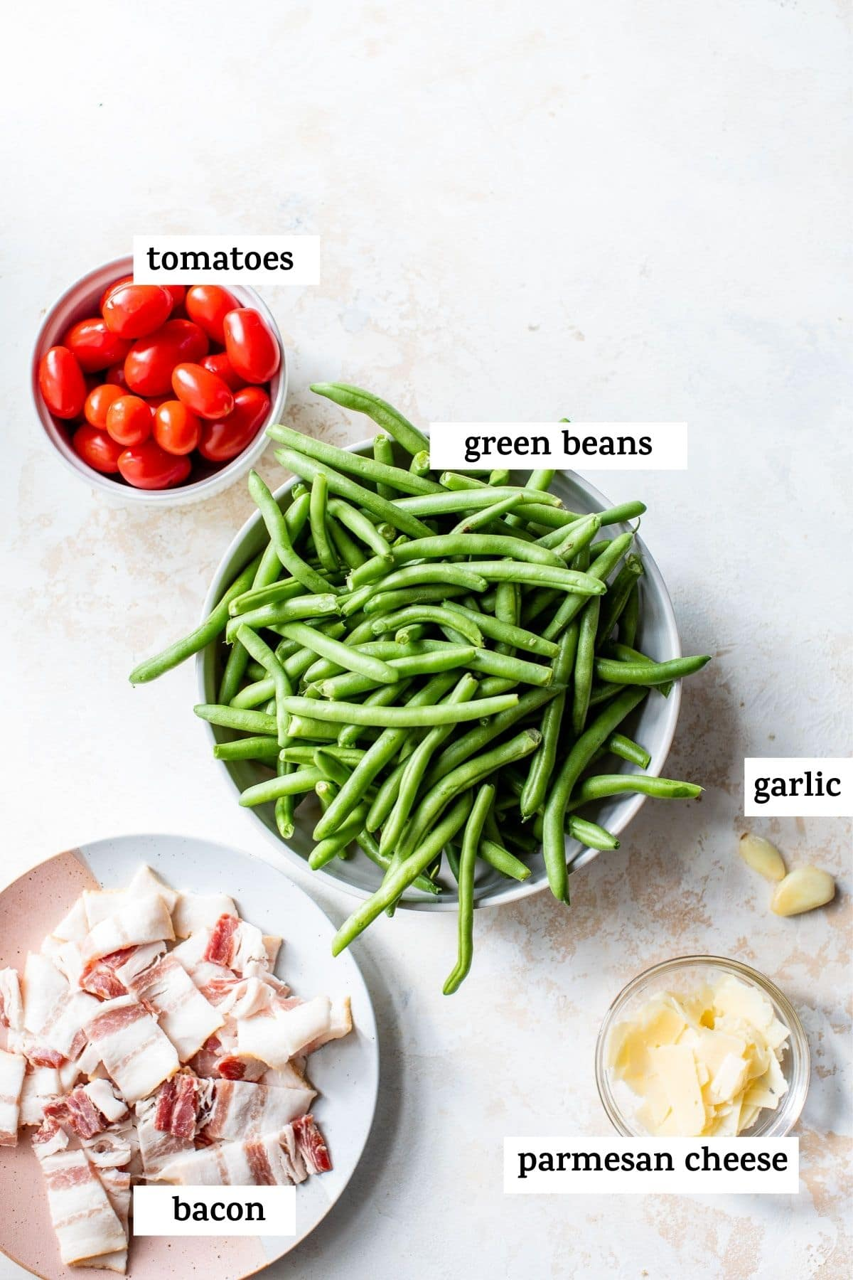 ingredients to make a green bean salad with text overlay