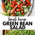 green beans on an oval platter and on a baking sheet with text overlay
