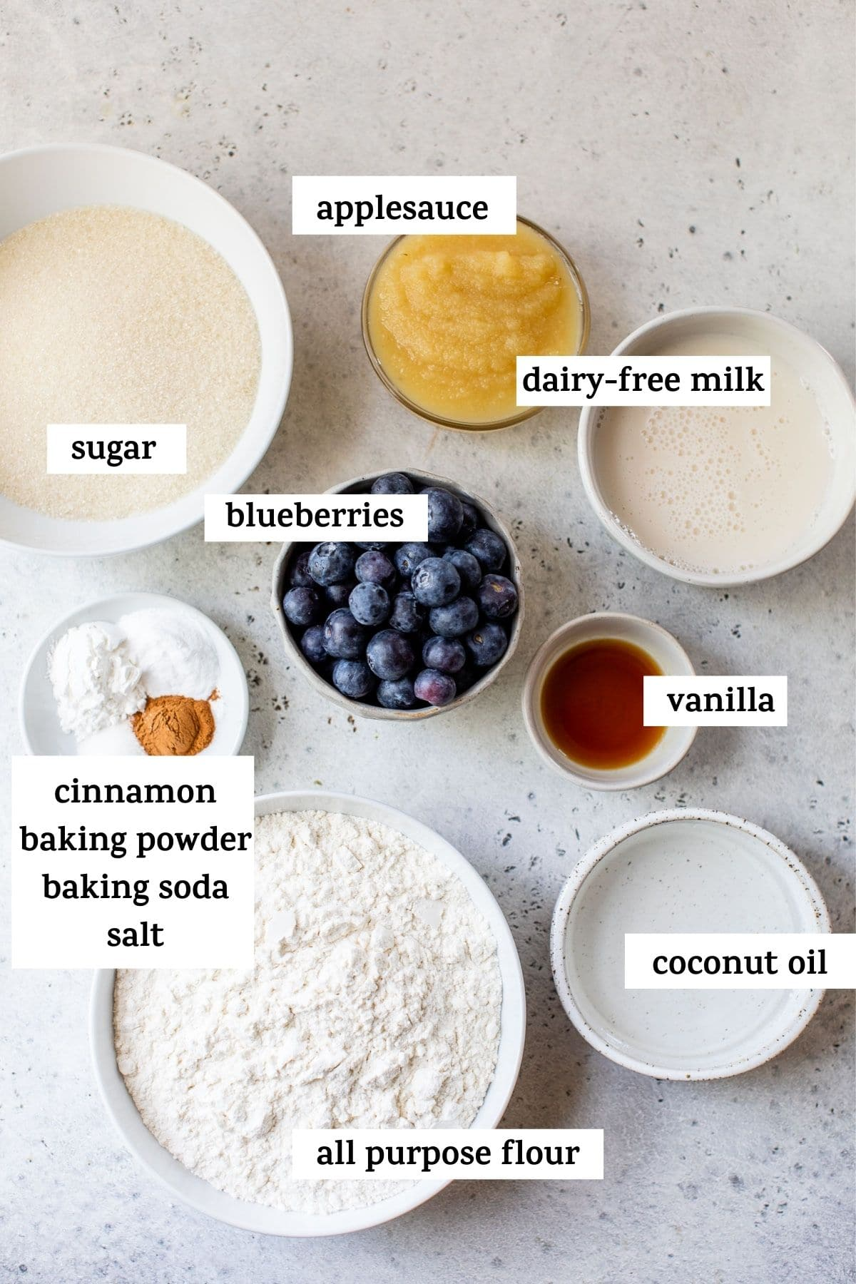 ingredients to make muffins with text overlay