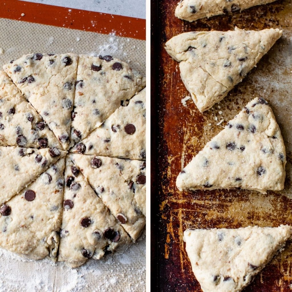 unbaked scones on a baking sheet
