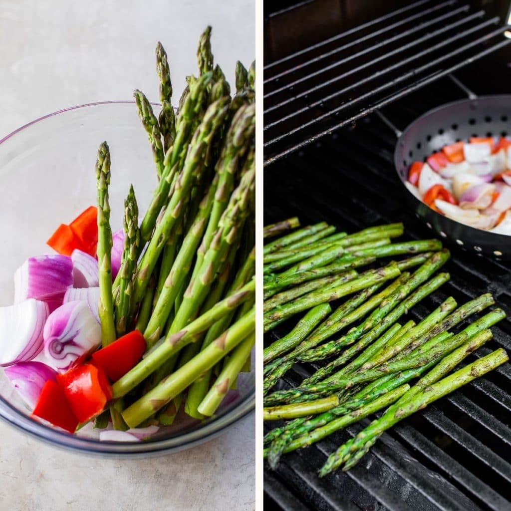 asparagus in a large glass bowl and on the grill