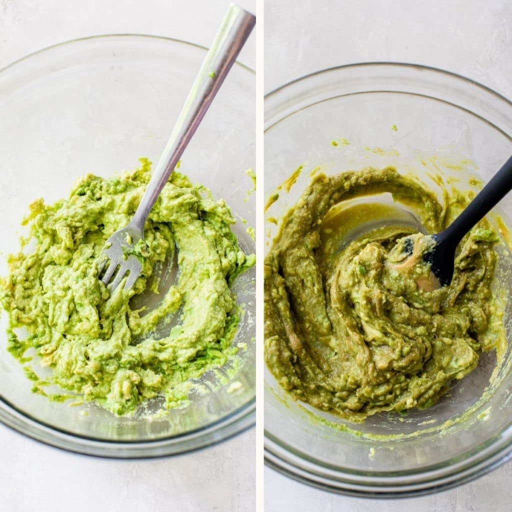 mashed avocado in a large glass bowl