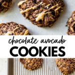 chocolate cookies drizzled with peanut butter with text overlay