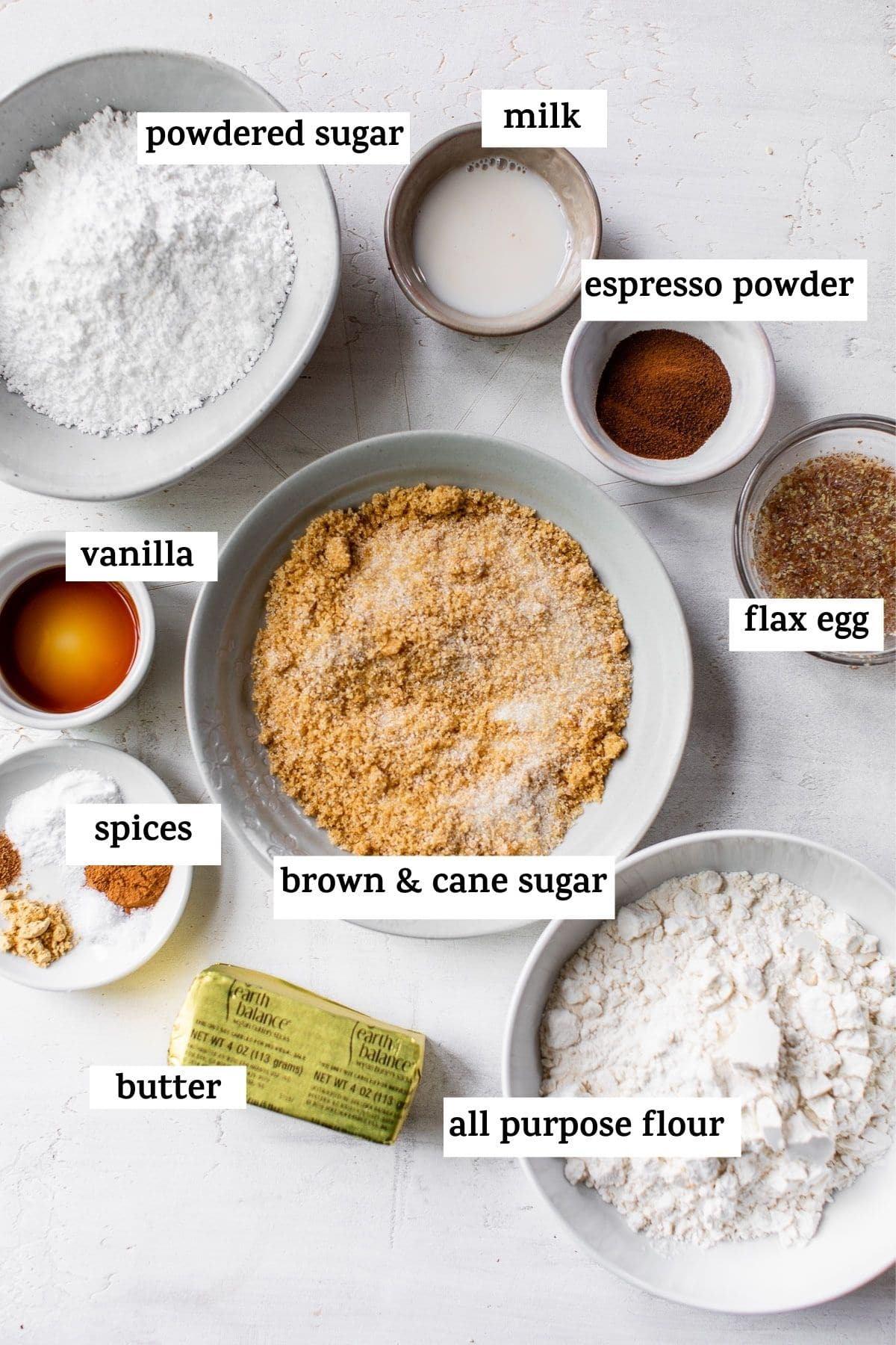 ingredients to make blondies with text overlay