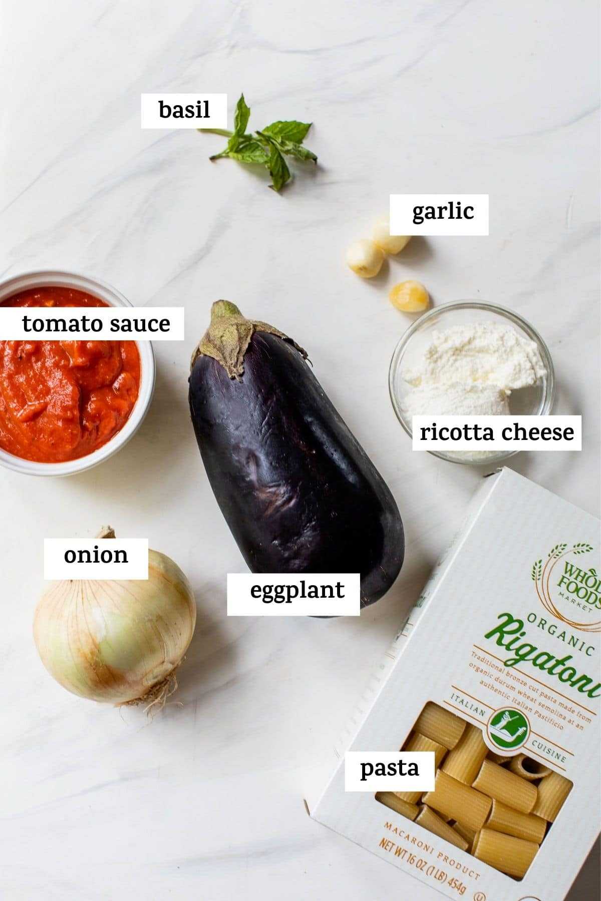 ingredients to make pasta with text overlay