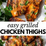 grilled chicken thighs topped with chopped parsley