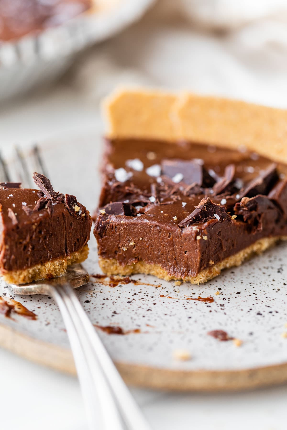 a slice of chocolate pie on a plate