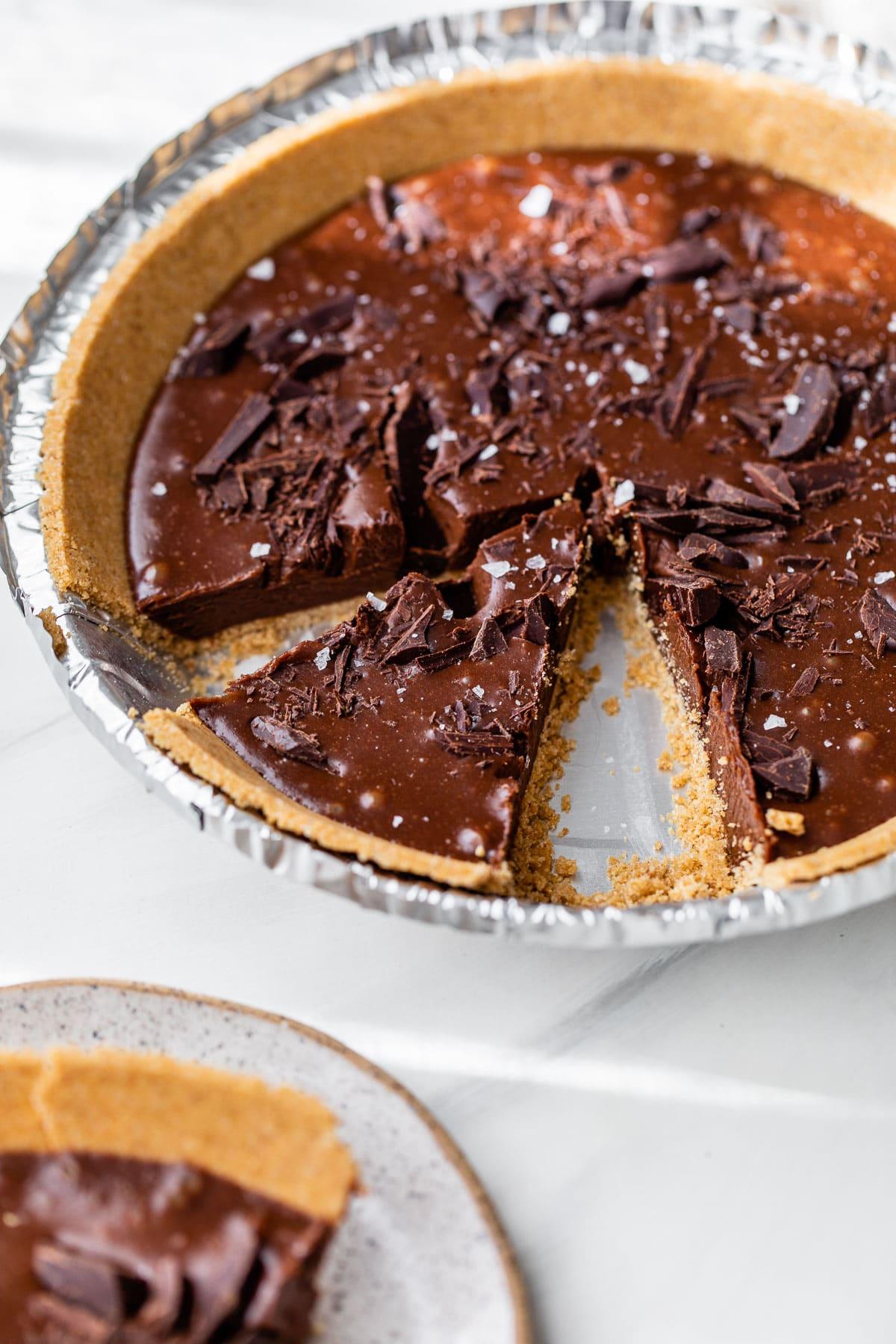 chocolate pie in an aluminum pie pan