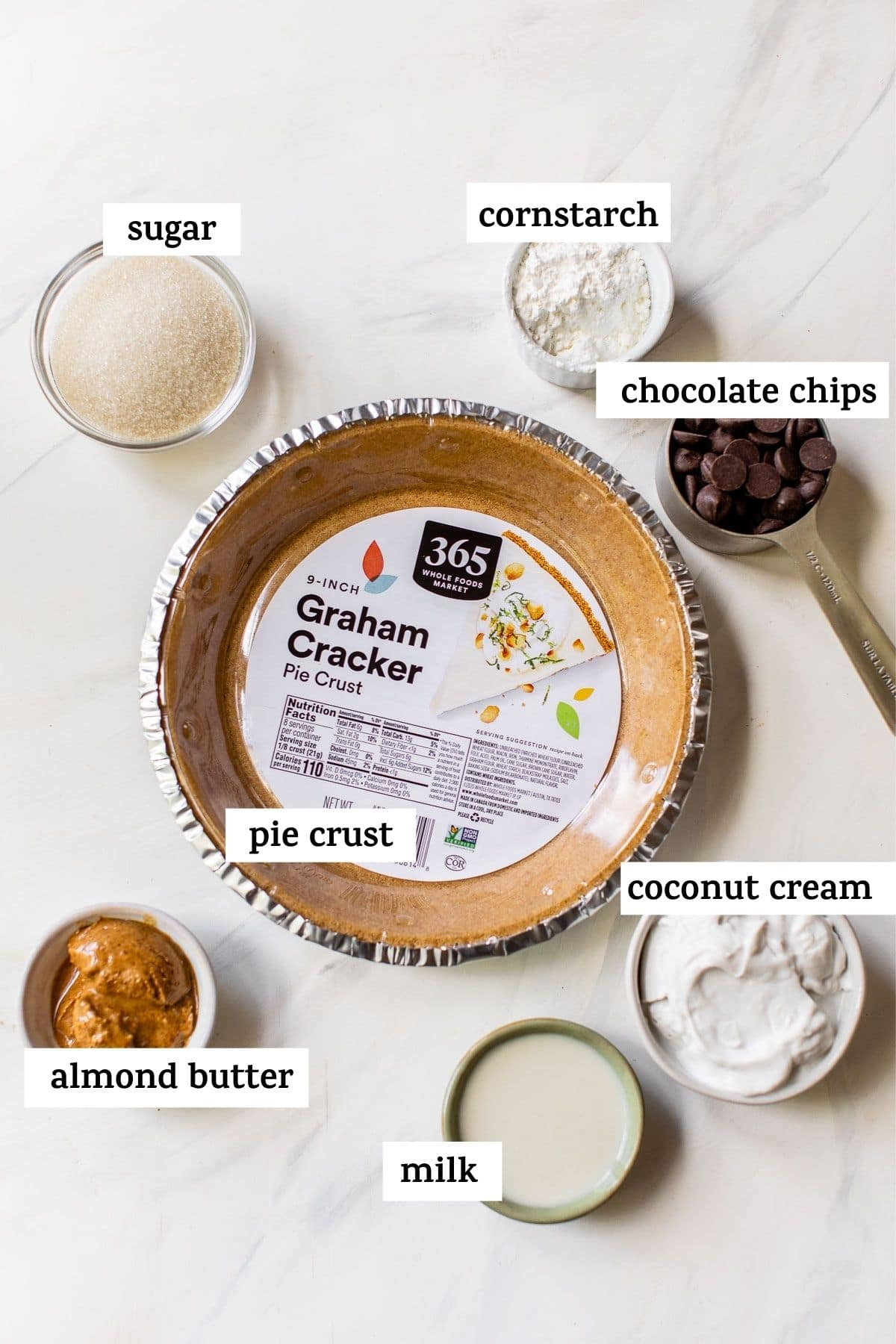 pie ingredients on a table with text overlay