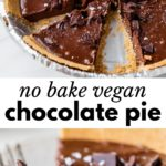 chocolate pie in a pie pan and a slice of pie on a plate