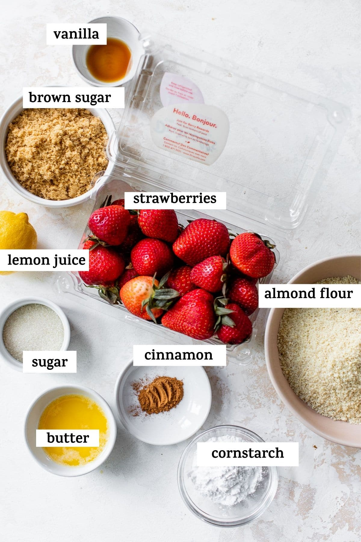 ingredients to make a crisp but with text overlay