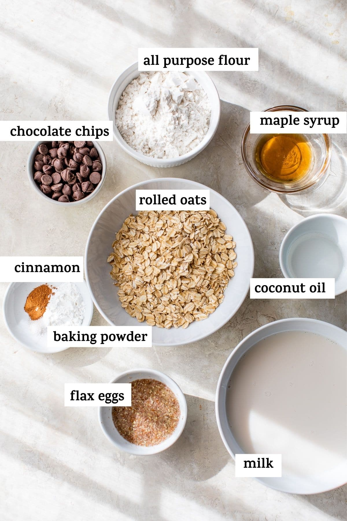 ingredients to make pancakes with text overlay