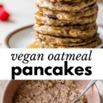 a stack of pancakes and a bowl of oatmeal with text overlay