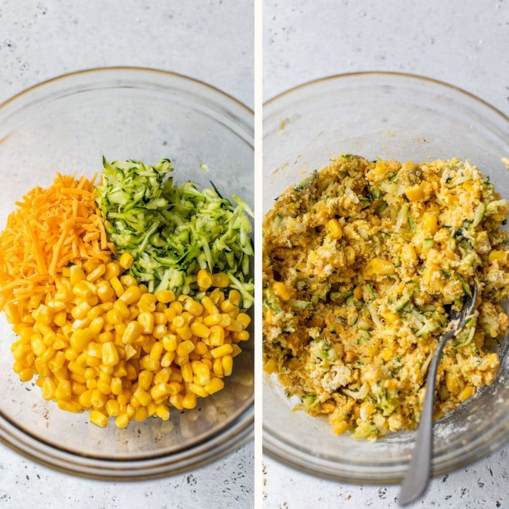 corn, grated zucchini and shredded cheddar cheese in a large glass bowl