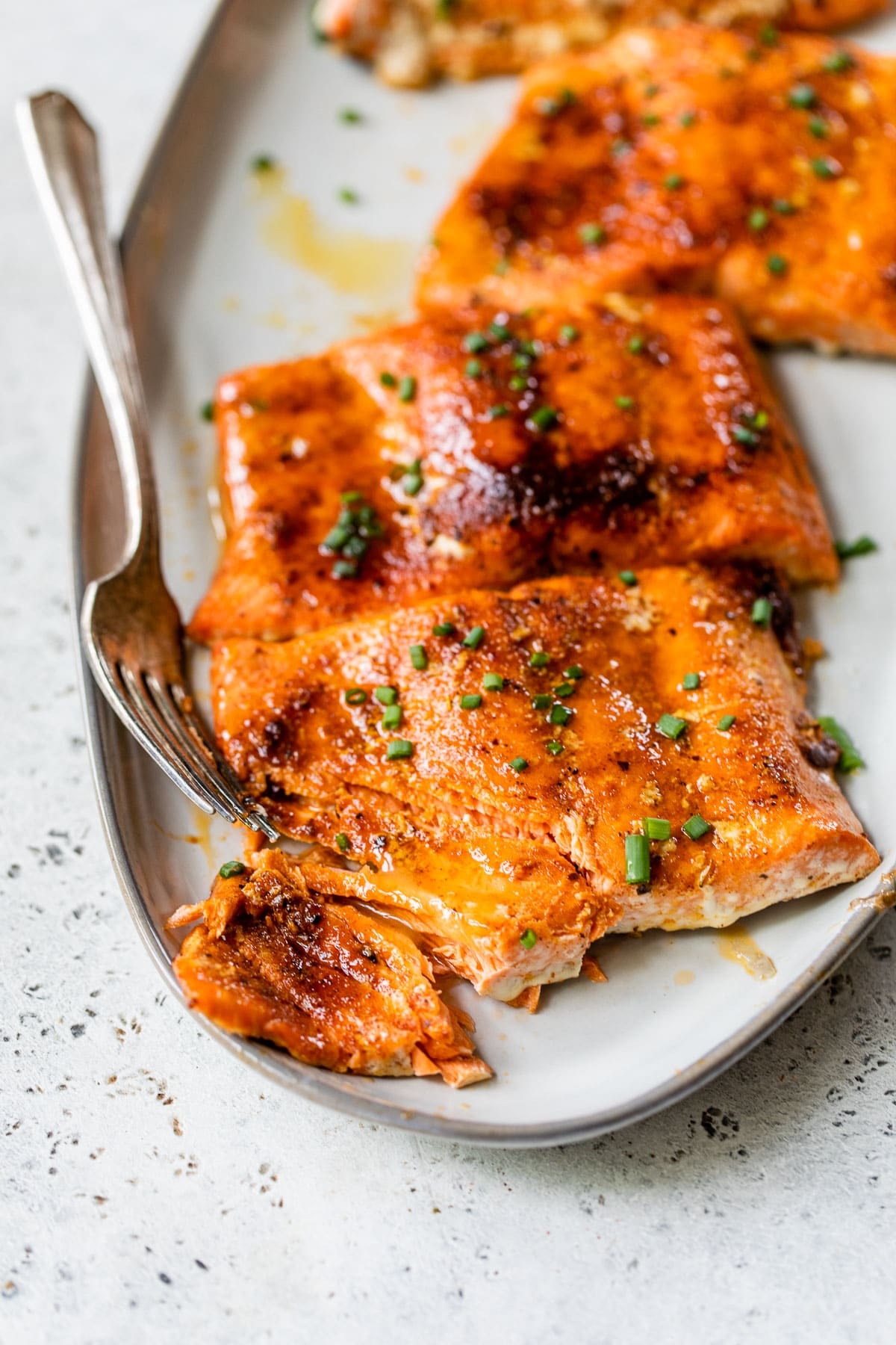 baked salmon with a bite taken out of it