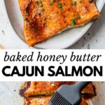 baked salmon on a platter brushed with warm butter