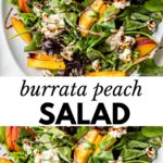 sliced peaches and burrata cheese on a bed of lettuce