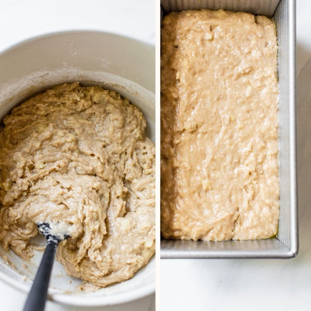 banana bread batter in a bowl and in a loaf pan