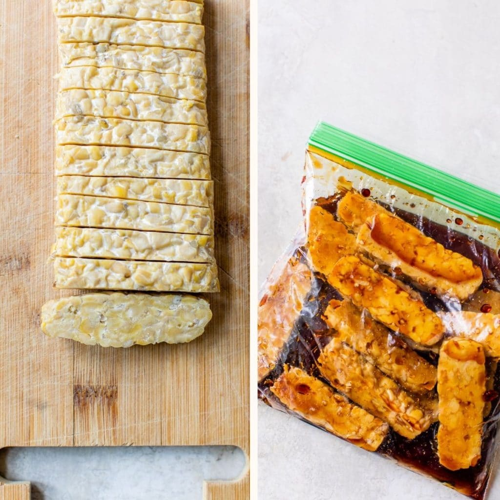 sliced plain tempeh on a cutting board and tempeh marinating in a plastic bag