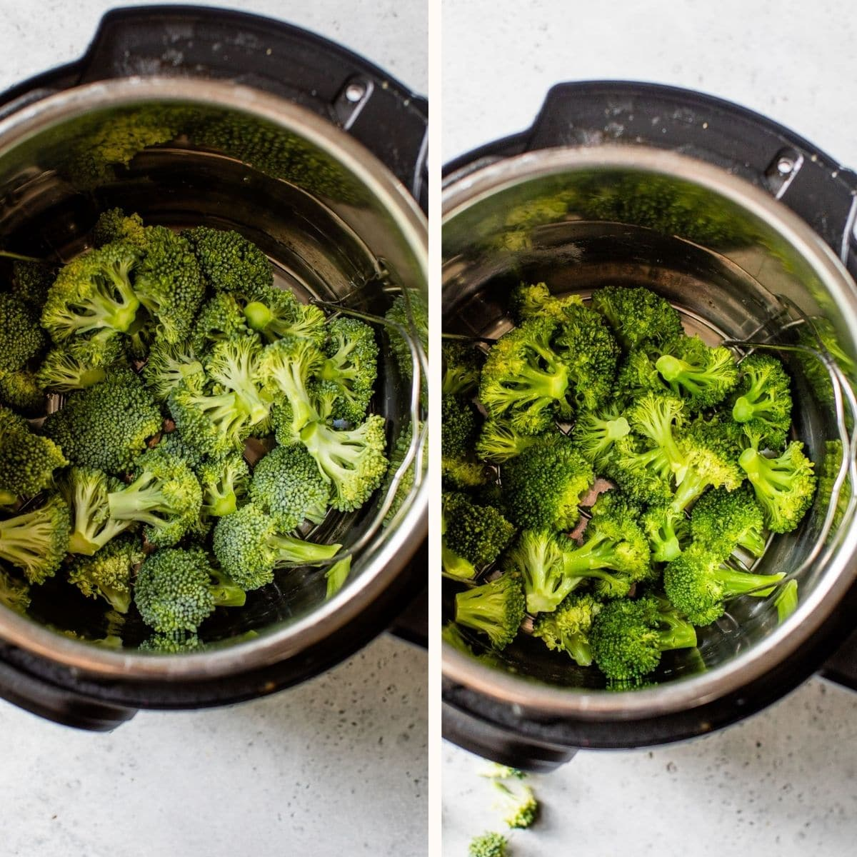 raw and cooked broccoli in a pressure cooker