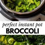 broccoli in a pressure cooker with text overlay