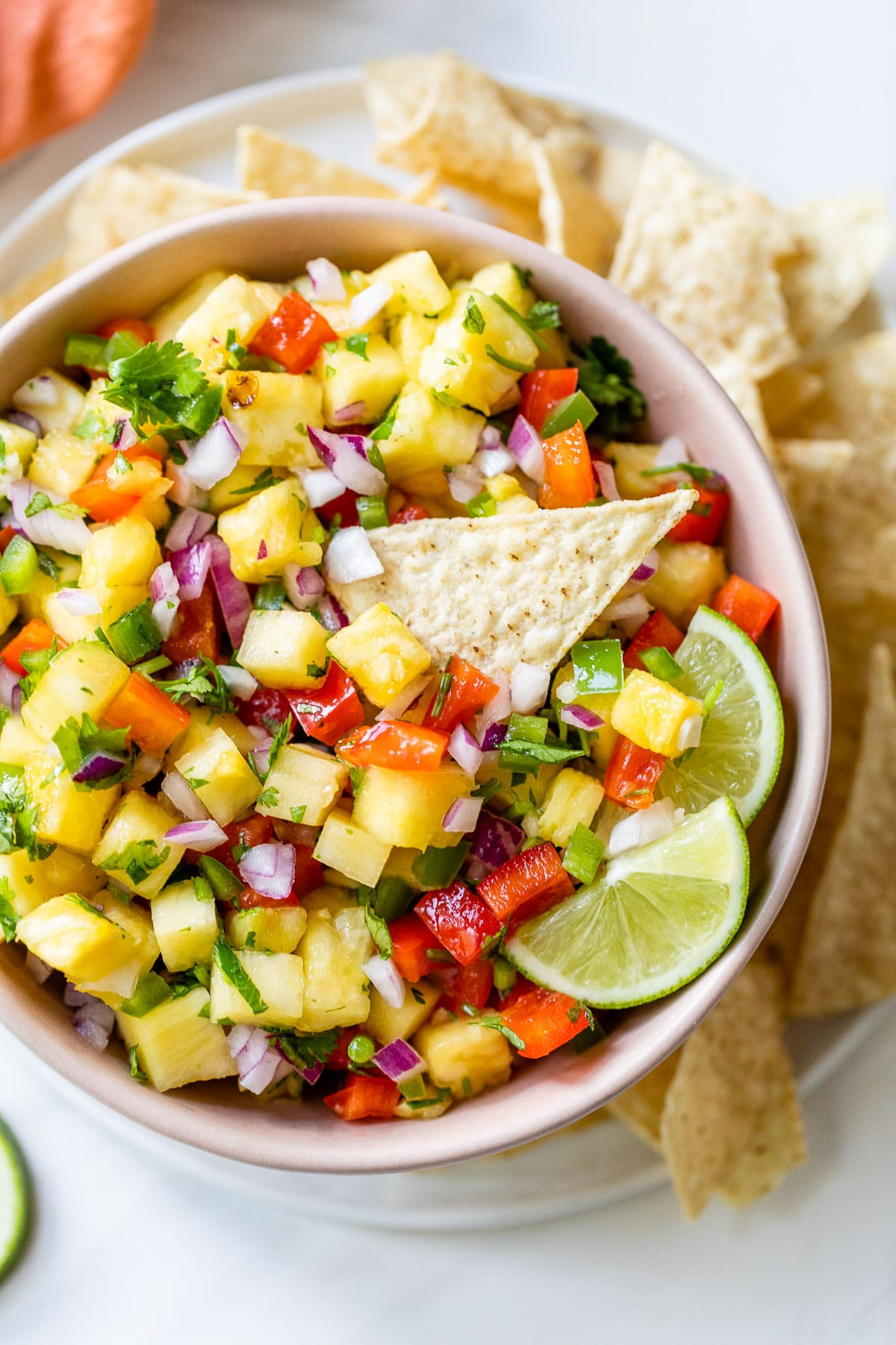 fresh salsa with a tortilla chip dipped in it