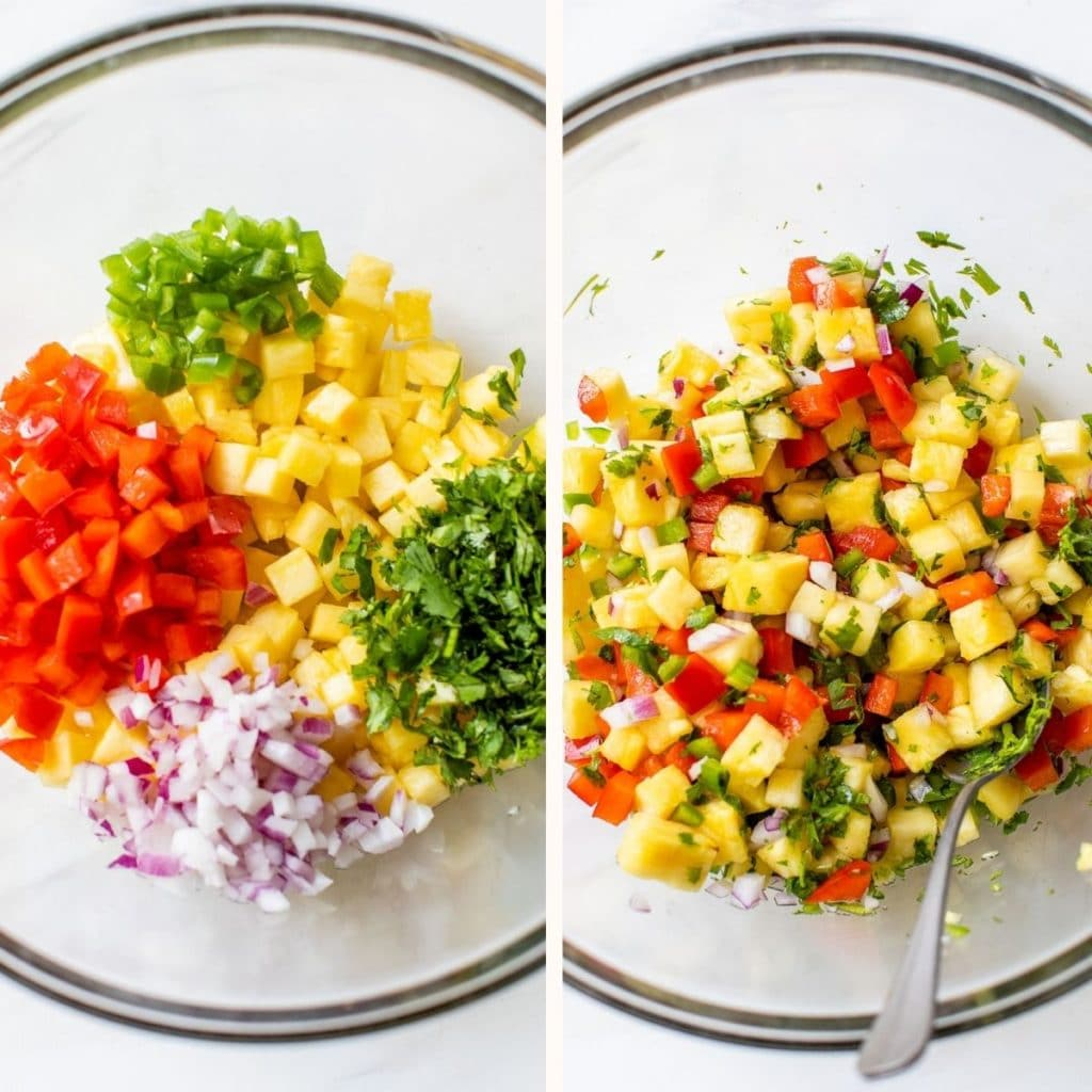 glass bowl filled with pineapple, bell pepper, red onion, and cilantro