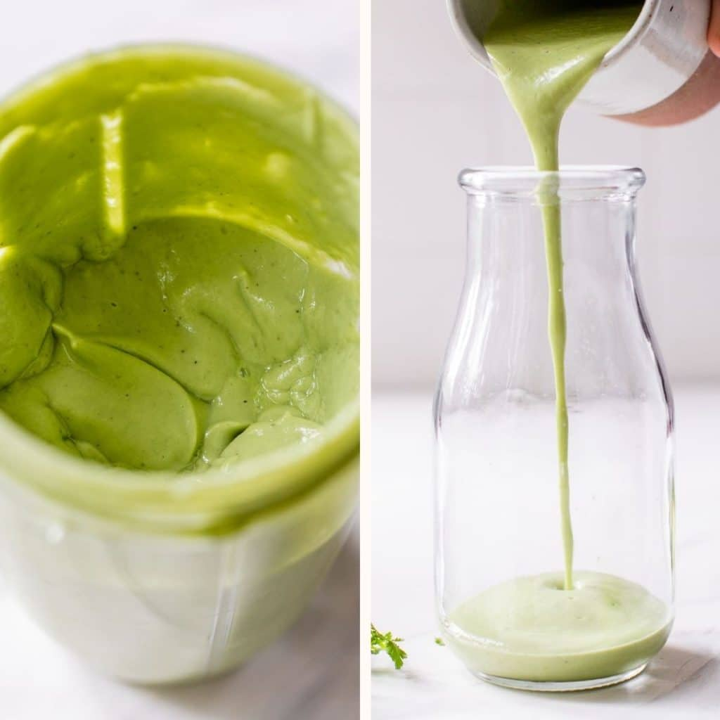 creamy green dressing in a small blender