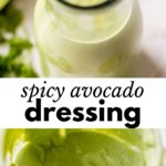 green dressing in a glass jar and in a small blender