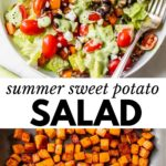 salad in a bowl with text overlay and diced sweet potatoes in a skillet
