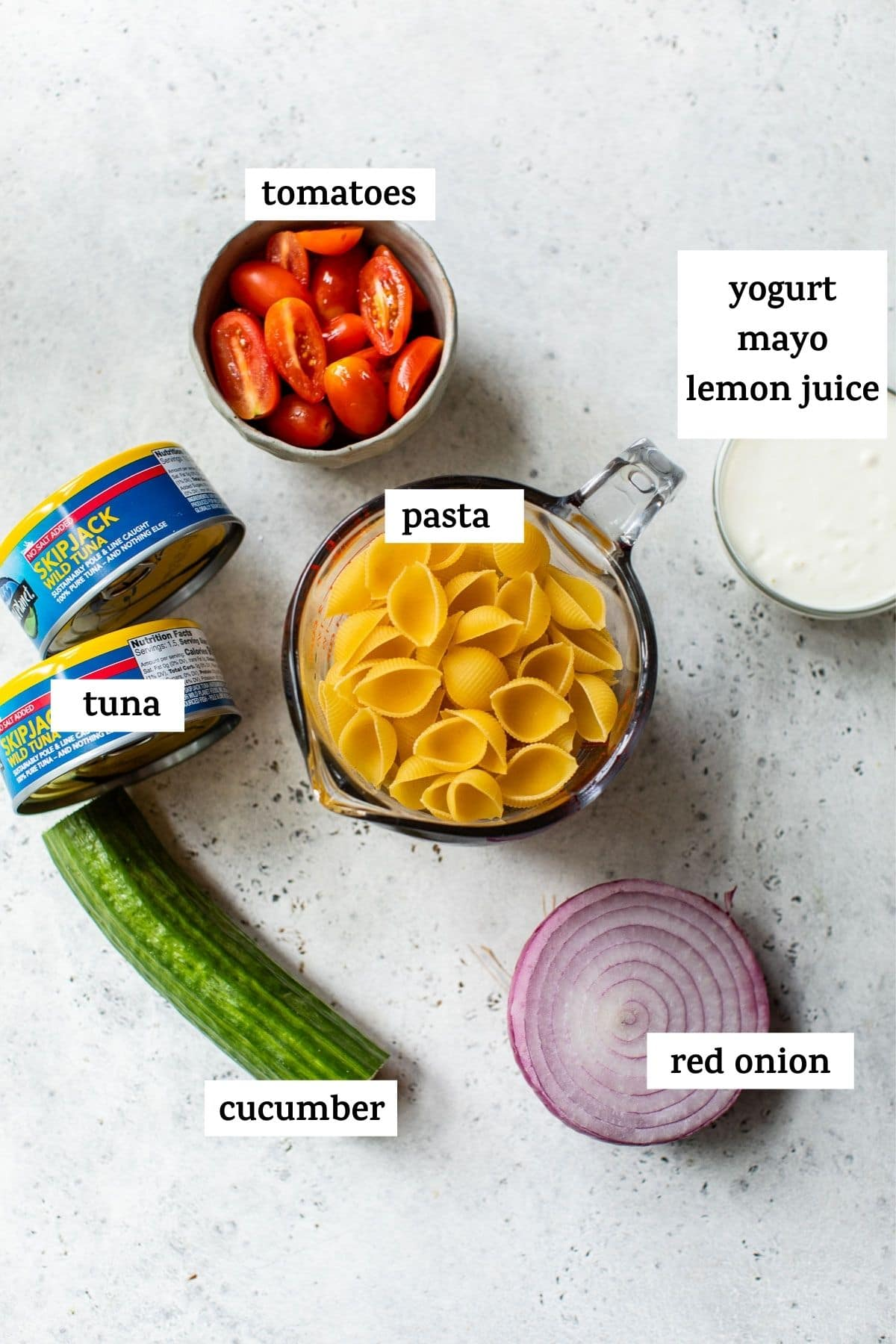 pasta salad ingredients with text overlay