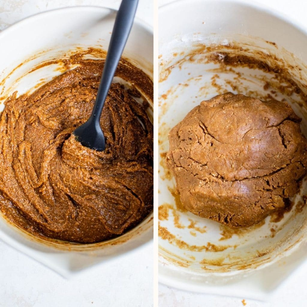 peanut butter dough in a mixing bowl