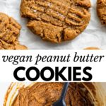 peanut butter cookie on parchment paper with text overlay
