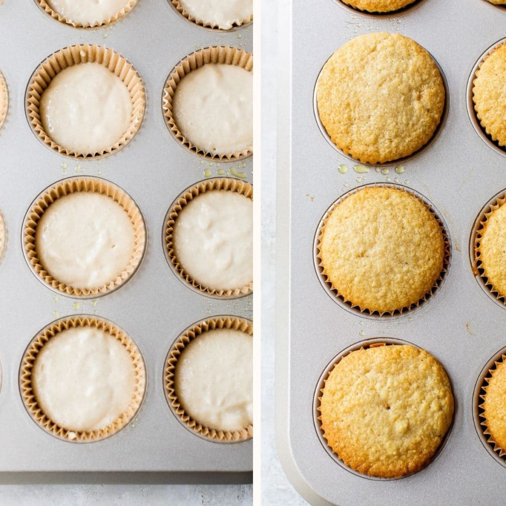 cupcake batter in cupcake liners and baked cupcakes in cupcake liners