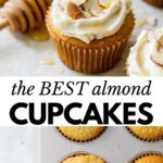 cupcakes topped with sliced almonds and a drizzle of honey