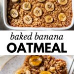 baked oatmeal in a square dish with text overlay