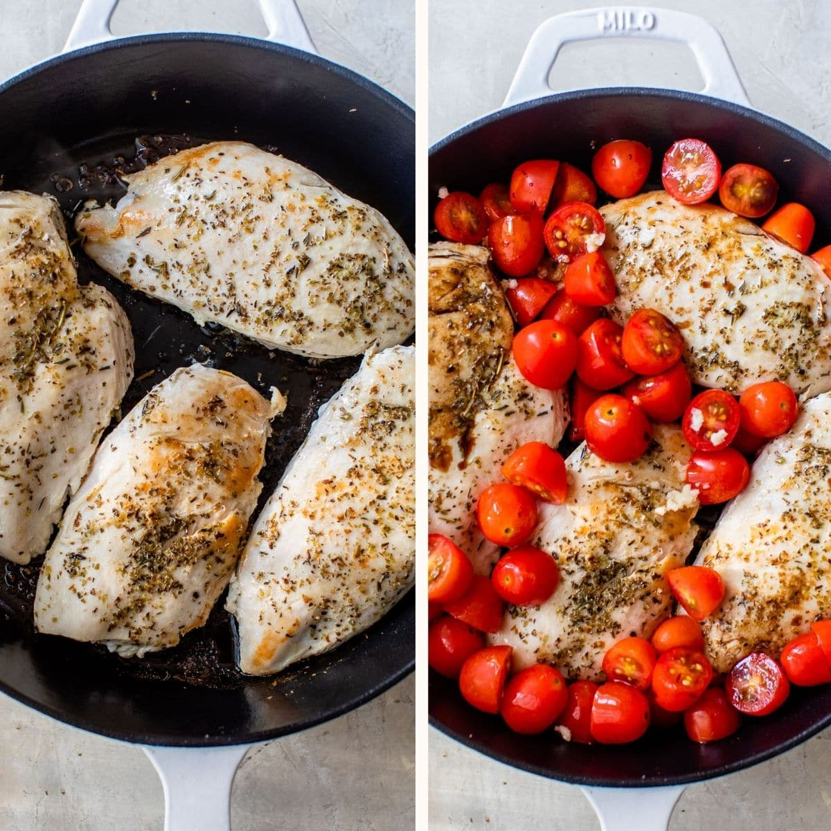 pan-seared chicken breasts in a cast iron skillet
