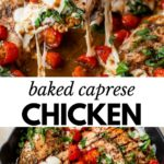 baked chicken breast in a skillet topped with cheese, tomatoes and fresh basil