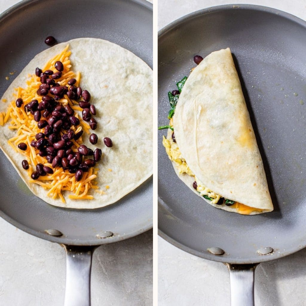 tortilla in a skillet with black beans and shredded cheese