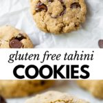 chocolate chip cookies on parchment paper with text overlay