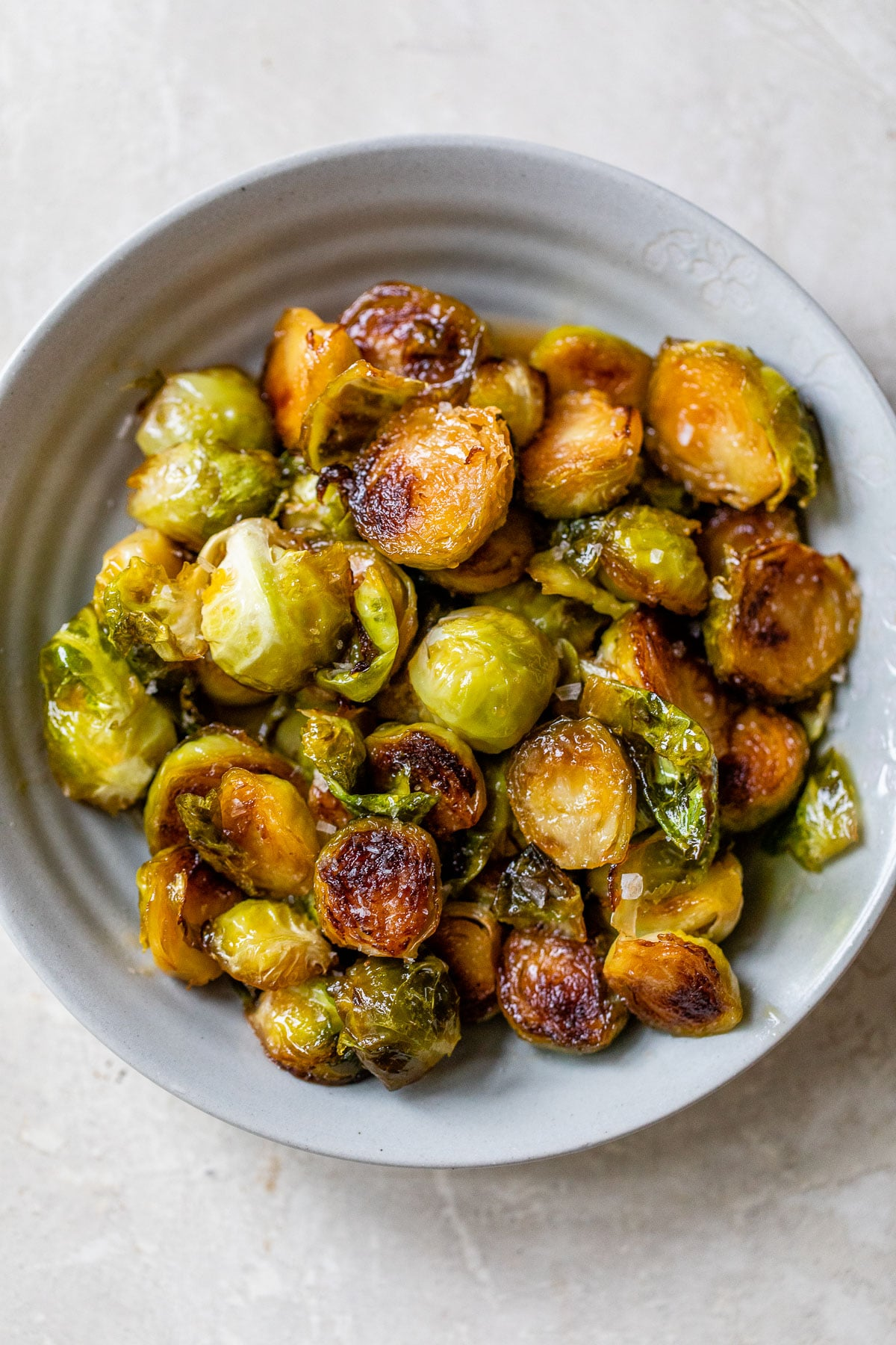 bowl of cooked brussels sprouts