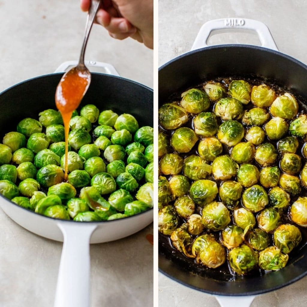 someone drizzling sauce overtop of brussels sprouts