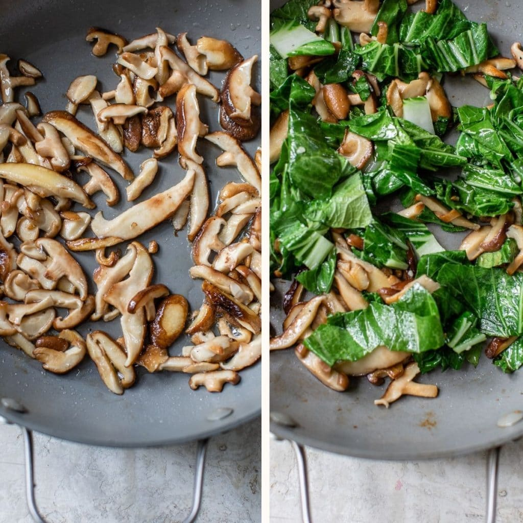 a skillet with cooked shiitake mushrooms and bok choy