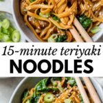 teriyaki noodles in an oval bowl with text overlay