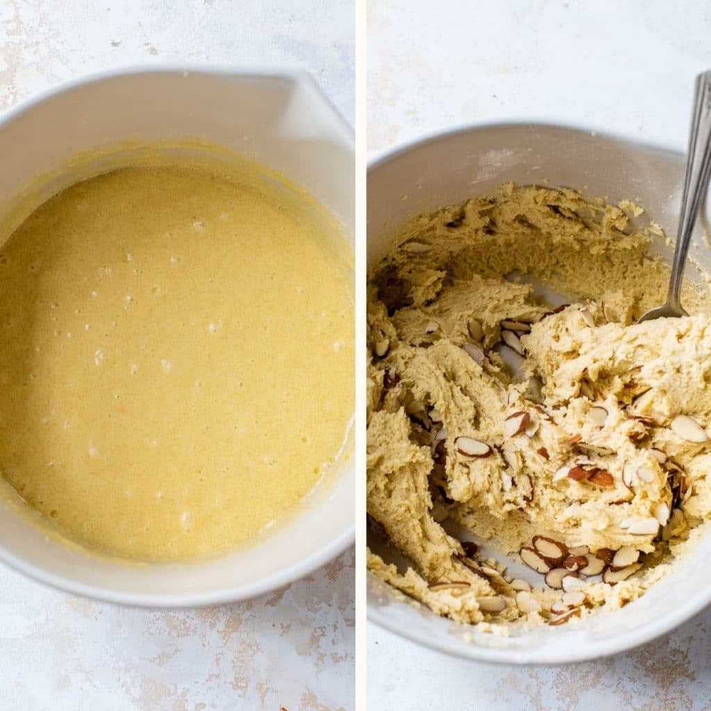 batter in a white mixing bowl