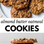 oatmeal cookies on a plate and a stack of cookies