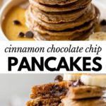 a stack of pancakes with chocolate chips on a plate