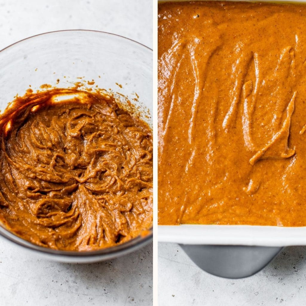 pumpkin pie filling whisked in a glass bowl