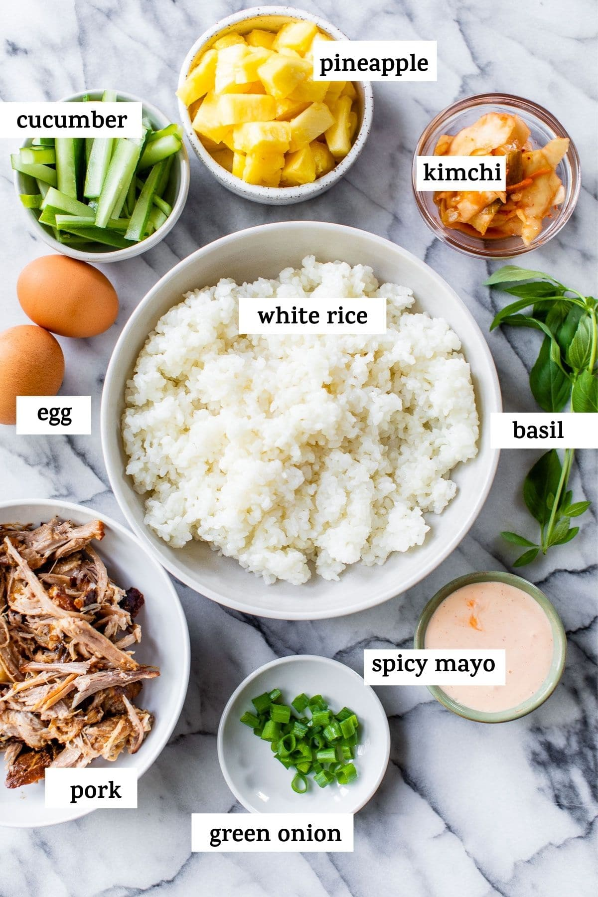 ingredients to make bibimbap with text overlay